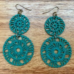 "Francesca's Collections Teal ""Pinwheel"" Earrings"